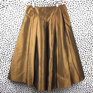 Talbots Copper Silk Pleated Midi Skirt Size 6
